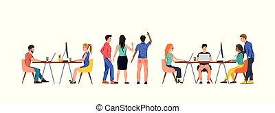 drużyna, grupa, biuro, pracujące ludzie