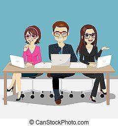 drużyna, handlowy, posiedzenie