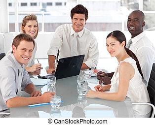 drużyna, handlowy, praca, multi, culutre, młody