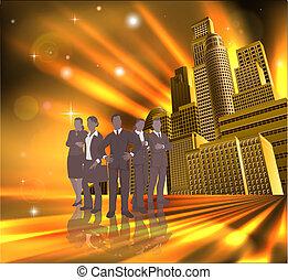 drużyna, ilustracja, miasto, profesjonalny