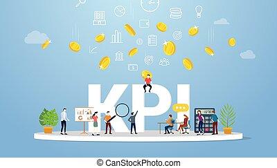 drużyna, ludzie handlowe, klucz, wektor, pojęcie, spełnienie, indykator, kpi, razem, praca, -