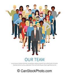 drużyna, ludzie, profesjonalny, płaski, afisz, tłum