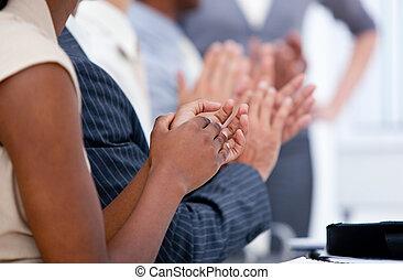 drużyna, oklaskując, handlowy, ambitny, spotkanie