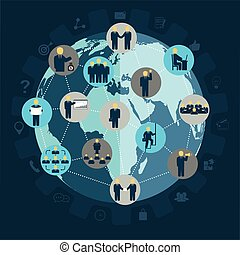 drużyna, pracujący, ludzie, workforce, ludzie, towarzyski, tworzenie sieci, handlowy, ruch