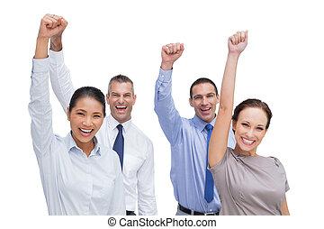 drużyna, przedstawianie, siła robocza, praca, radosny, do góry