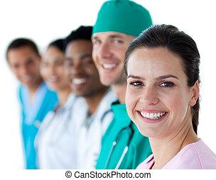 drużyna, uśmiechanie się, aparat fotograficzny, multi-ethnic, medyczny