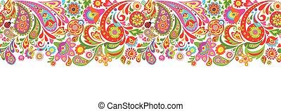 druk, dekoracyjny, barwne kwiecie, seamless, abstrakcyjny, brzeg