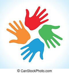 druk, kolor, ręka, 4, ikona