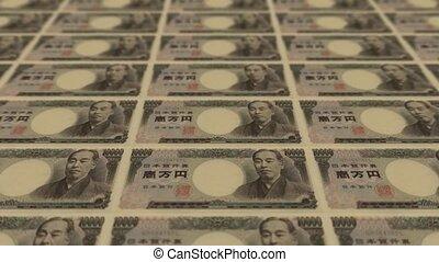 druk, pieniądze, 10000 jen, japończyk