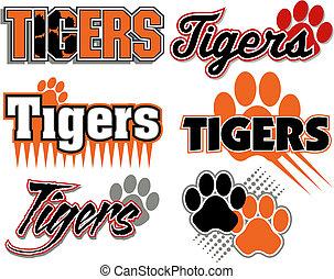 druk, tygrysy, projekty, łapa
