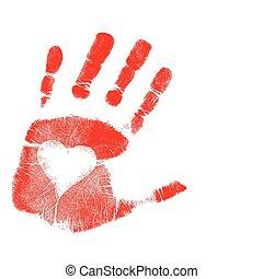 druk, wektor, miłość, /, ręka