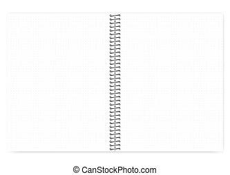 drut, mockup, spirala, metal, skok, realistyczny, notatnik, ruszt, otwarty, kropka