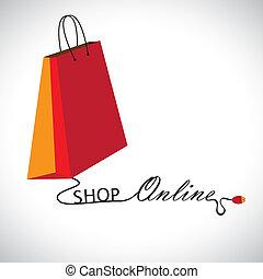 """drut, zakupy, technology., &, formując, symbol, zawiera, ilustracja, torba, graficzny, """"shop"""", słówko, online, używając, mysz, połączony, """"online"""""""