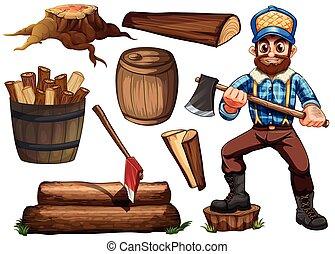 drwal, drewno opałowe