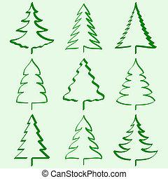 drzewa, boże narodzenie, zbiór