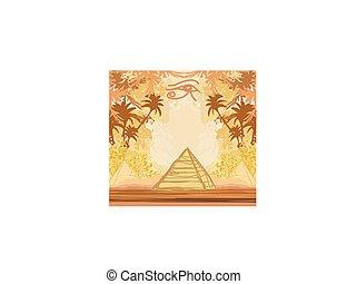 drzewa, dłoń, oko, symbolika, piramidy, horus, egipt, -