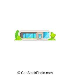 drzewa, dom, komin, nowoczesny, wygodny, odizolowany