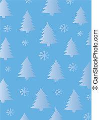 drzewa jodły, płatki śniegu, tło