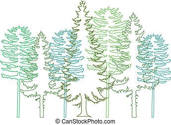 drzewa jodły, wektor