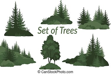 drzewa, krajobrazy, sylwetka