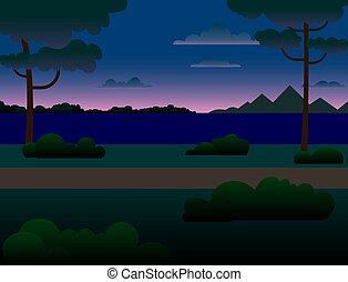 drzewa, las, river., góry, rzeka, noc, wszerz, krajobraz