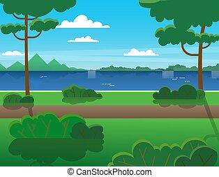 drzewa, lato, wszerz, las, river., góry, rzeka, na wolnym powietrzu, recreation., krajobraz