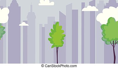 drzewa, miejskie niebo, architektura, cityscape