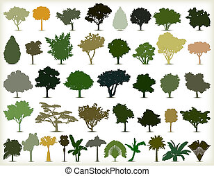 drzewa., sylwetka, wektor, komplet