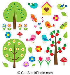 drzewa., wektor, komplet, ptaszki