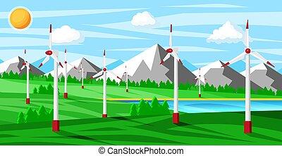 drzewa., zagroda, pola, zielony, wiatr