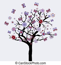 drzewo, abstrakcyjny, kwiaty, motyle, kwiatowy