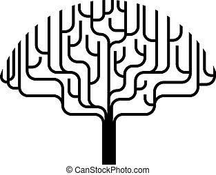 drzewo, abstrakcyjny, sylwetka, ilustracja