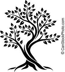 drzewo, biały, sylwetka, tło