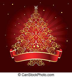 drzewo, boże narodzenie, czerwony