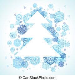 drzewo, boże narodzenie, płatki śniegu