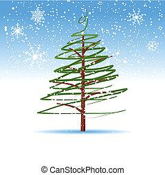 drzewo, boże narodzenie, zima