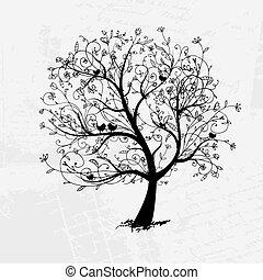 drzewo, czarnoskóry, twój, sztuka, projektować, piękny, sylwetka