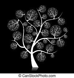 drzewo, czarnoskóry, twój, sztuka, projektować, sylwetka
