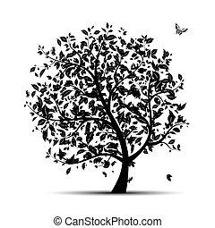 drzewo, czarnoskóry, twój, sztuka, sylwetka