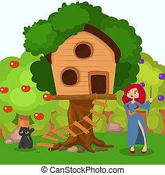 drzewo, czarownica, czarnoskóry, wektor, kapelusz, dom, rysunek, house., illustration., kot, scena, litera, spooky, kobieta, halloween