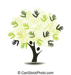 drzewo, dłonie