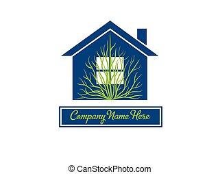 drzewo dom, stan, logo, nowoczesny, prawdziwy