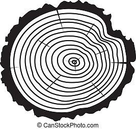 drzewo, drewniany, wektor, kloc, cięty