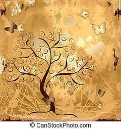 drzewo, grunge, tło