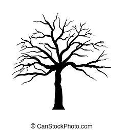drzewo, halloween, rysunek
