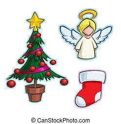 drzewo, ikona, pończocha, -, rysunek, anioł, komplet, boże narodzenie
