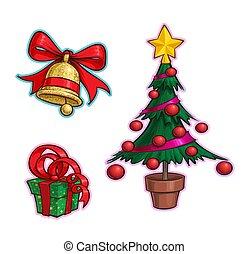 drzewo, -, ikona, rysunek, komplet, dar, boże narodzenie, dzwon