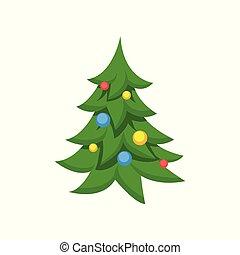 drzewo, ilustracja, boże narodzenie, wektor, ozdobny, rysunek