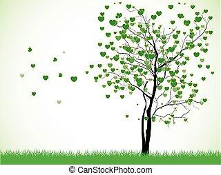 drzewo, ilustracja, valentine, trawa, tło, serca, biały