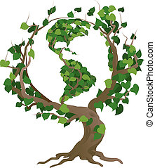 drzewo, ilustracja, wektor, świat, zielony